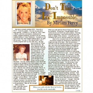 Image of Don't Think It's Impossible! Article by Miriam Alcott Percy