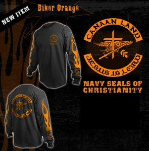 Image of 2- Black/Orange Long Sleeve 4XL Tee Shirt