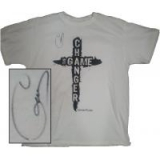 Image of Autographed The Game Changer T-Shirt White with black letters Large