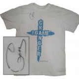 Image of Autographed Game Changer T-Shirt White with blue letters Medium