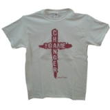 Image of The Game Changer T-Shirt White with Red Letters Medium
