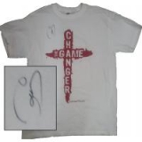 Image of Autographed Game Changer T-Shirt White with Red Letters Small