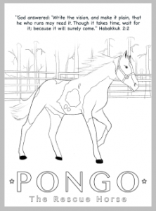 Image of Pongo the Rescue HorseColoring Sheet