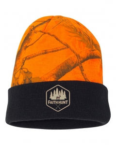 Image of Faith Hunt Knit Orange Camo Beanie