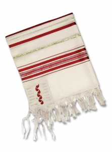 "Image of 7 Places Jesus Shed His Blood 50"" Wool Tallit"