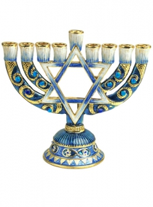 Image of Blue Pewter Jeweled Menorah with Candles