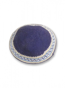 Image of Kippah, Blue and White, Knit