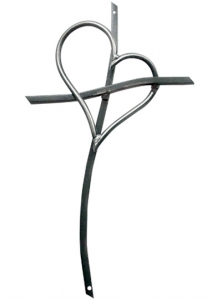 Image of Cross and Heart Art Sculpture