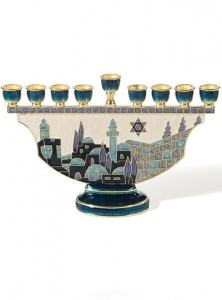 Image of Jerusalem Cityscape Pewter Menorah