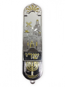 Image of Roots Symbol and Jerusalem Cityscape Mezuzah