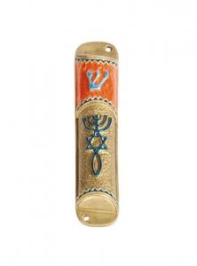 Image of Roots Symbol Mezuzah (Orange, Blue and Gold)