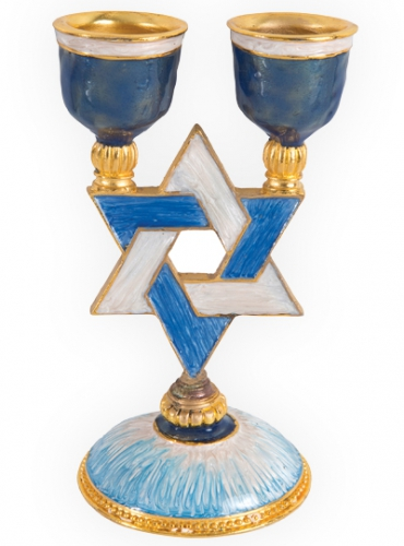 Image of Star of David and Cross Candleholder