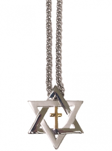 Image of Star of David and Cross Stainless Steel Necklace With Chain