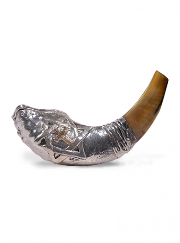 Image of Star of David and Cross Shofar With Silver Accents