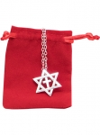 Image of Star of David Sterling Silver Necklace, Chain and Velvet Jewelry Pouch