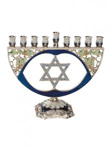 Image of Star of David Pewter Chanukah Menorah Set