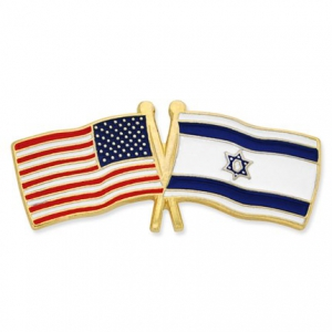 Image of USA and Israel Crossed Flag Lapel Pin