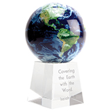 Image of Solar Power World Globe on Crystal Base